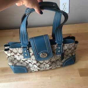 Blue Leather and Fabric Coach Shoulder Bag